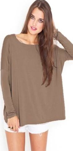 Mocha Light Brown Bamboo Piko Long Sleeve T-Shirt Loose Boat Neck Soft