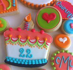 Decorated Sugar Cookies / Colorful Birthday Cake Cookie