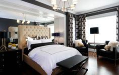 Suzie: Atmosphere Interior Design - Ivory & black modern, contemporary bedroom design with tan ...