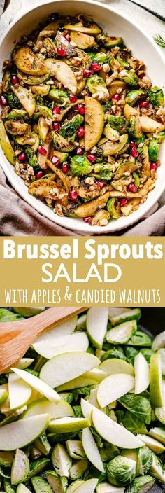 Brussels Sprouts Salad With Apples And Candied Walnuts - A Warm Brussel Sprouts Salad Loaded With Tart Apples And Candied Walnuts Is A Delicious Side Dish Recipe Perfect For Thanksgiving Or Christmassimple And So Good Sprouts Salad, Brussel Sprout Salad, Brussels Sprouts, Pasta Salad Recipes, Healthy Salad Recipes, Side Dishes For Salmon, Side Dish Recipes, Grandma's Recipes, Ramen Recipes