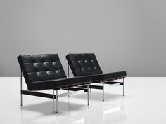 Kho Liang Le Easy Chairs in Rosewood and Black Leatherette 3