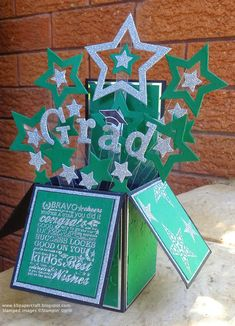 KB Papercraft: Master, O Master - Graduation Card in a Box - Great Grads - Simply Stars - Stars Framelits - Star Punches Pop Up Box Cards, 3d Cards, Card Boxes, Graduation Cards Handmade, Greeting Cards Handmade, Fancy Fold Cards, Folded Cards, Boite Explosive, Exploding Box Card