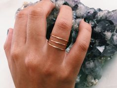 Triple Floating Bar Ring by LucysIslandTreasures on Etsy