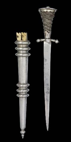 A GERMAN LANDSKNECHT DAGGER, IN 16TH CENTURY STYLE  19th Century  With tapering blade of triangular section struck with a mark at the forte on one side, iron hilt with small side-ring, flat circular cap pommel engraved with a rosette, and wire-bound conical grip; in original iron sheath formed of two halves, applied with two groups of strongly moulded bands, leather belt-strap on a pair of loops at the rear, and with engraved by-knife and bodkin with bronze handles. 14 1/8in