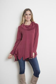 Multi-way cowl neck top by Simply Noelle --- Try it buttoned or unbuttoned! The flare at the bottom gives this top a great shape!