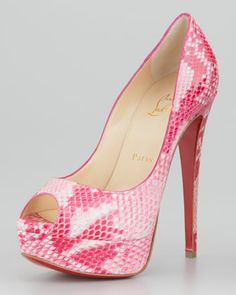 Lady Peep Python Red Sole Pump, Rose by Christian Louboutin at Neiman Marcus.
