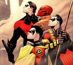 Robin (from bottom to top: Damian Wayne, Tim Drake, Jason Todd, and Dick Grayson)
