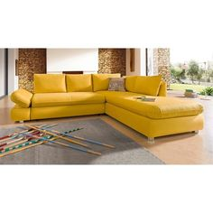 Canap d 39 angle convertible en tissu jaune moutarde domizio for Canape jaune moutarde