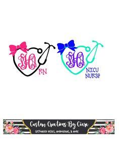 Nurse Monogram Decal | Name Stethoscope Decal | Heart Nurse Decal | Monogram Decal | Nurse Tumbler Decal | Nurse Car Decal | Bow Decal by CustomCreationsByCP on Etsy