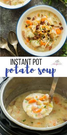 This Instant Pot Potato Soup is creamy, comforting, and loaded with chunks of potato and a few veggies just for good measure ? It is the ULTIMATE comfort food and my very favorite pressure cooker soup! An easy, healthy Instant Pot dinner recipe for any Instant Pot Potato Soup Recipe, Instant Pot Dinner Recipes, Crock Pot Potato Soup, Potato Soup Recipes, Good Recipes For Dinner, Instapot Soup Recipes, Chicken Recipes, Healthy Soup Recipes, Easy Healthy Dinners