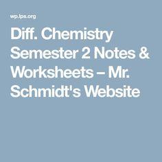 Diff. Chemistry Semester 2 Notes & Worksheets – Mr. Schmidt's Website Teaching Chemistry, Science Chemistry, Ap Chem, Teaching Secondary, Schmidt, Back To School, School Stuff, Worksheets, Notes