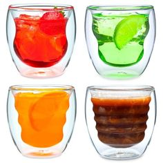 Each glass features a unique design that creates a fantastic optical effect when you fill it up either with a hot or cold drink. Comes in a set of 4.