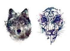 Sets wolf and tiger temporary tattoos by TattooLifeStyle on Etsy https://www.etsy.com/listing/218462974/sets-wolf-and-tiger-temporary-tattoos
