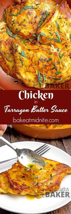 Dinner's on the table in 20 minutes with this tasty chicken in a delicious tarragon butter sauce. #chicken #skilletdinners #easyrecipes