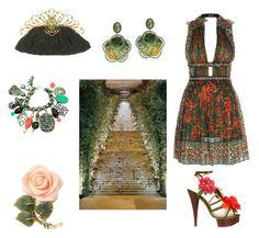 """Dark green"" by gloria-yi-qiao on Polyvore featuring Goshwara, Valentino, Charlotte Olympia, GALA and Napier"