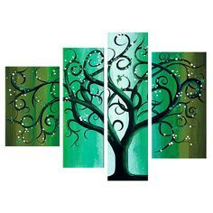 - Description - Why Accent Canvas? This exquisite Green Contemporary Tree Landscape Canvas Wall Art Oil Painting is 100% hand-painted on canvas by one of our master artists. Each artists begins with a