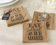 """""""Eat, Drink & Be Married"""" Burlap Coasters (Set of 2) @Kate Mazur Seminsky"""