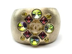 Chanel Silver Jeweled Cuff