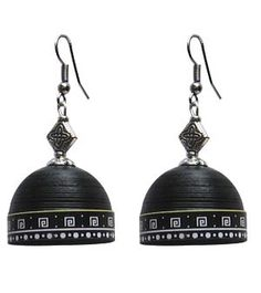 Black with white trendy quilled jhumkas