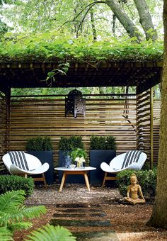 Magical & Peaceful Zen Garden Designs and Ideas Zengarten Mit Pergola Backyard Seating, Backyard Privacy, Backyard Patio, Backyard Ideas, Patio Ideas, Pergola Patio, Corner Pergola, Pool Fence, Backyard Retreat