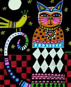 Cat Art Print Poster Painting Primitive Folk art Black and White Harlequin by Heather Galler