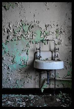old abandoned state hospital sink