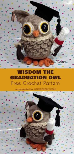 Wisdom The Graduation Owl Amigurumi Free Pattern - great graduate gift idea! #freecrochetpatterns #amigurumipattern #crochettoys