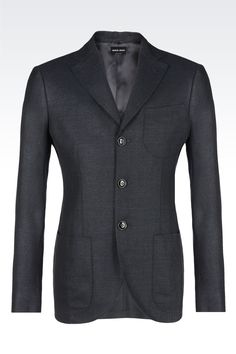 SINGLE-BREASTED SILK, LINEN AND WOOL BLEND TOKYO JACKET : Blazers Men by Armani - 0