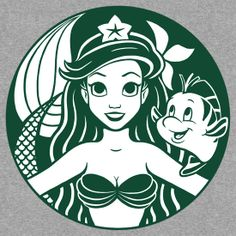 Mermaid SVG Disney iron on Decal Cutting File / Clipart, Eps, Dxf, Png, Jpeg Cricut Silhouette Little mermaid life Ariel Sebastian Flounder Walt Disney, Disney Magic, Disney Art, Disney Movies, Disney Pixar, Disney Characters, Geeks, Humour Disney, Starbucks Logo