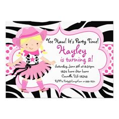 Hot Pink and Zebra Print Cowgirl Birthday Party Personalized Invites