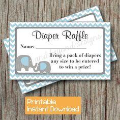Elephant Diaper Raffle Tickets INSTANT DOWNLOAD Printable Raffle Tickets Baby Shower Blue Grey Chevron pdf Printable Party DIY Boy 014 on Etsy, $4.00