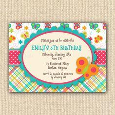 Butterfly Birthday Party Invitations - DIY Printable. $20.00, via Etsy.