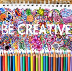 """Doodle color pencil drawing """"be creative"""" by kristina webb …"""