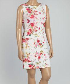 Look at this #zulilyfind! Pink & White Floral Scoop Neck Bodycon Dress - Plus by Citi Life #zulilyfinds