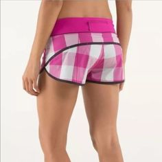 RARE Lululemon raspberry plaid run speed shorts Worn once. The 2 way stretch just doesn't fit me right. •no trades•offers through the offer feature only• lululemon athletica Shorts