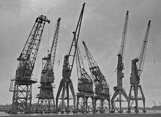 Old harbour cranes near the river