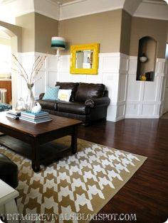 Great tutorial on board and batten Houndstooth-rug-DIY-living-room-makeovr