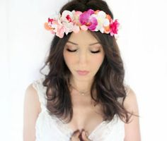 Absolutely stunning, Tropical flower crown adorned with orchids, hydrangea and babys breath. Stunning fuchsia, orange, soft pinkwhite and coral, This