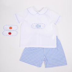 8cff6bd0fa Blue Check Boys Short Set with Interchangeable Tabs. Cecil And LouBoy ShortsFall  ...