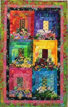 Dit stuk is gemaakt met behulp van allerlei verschillende stoffen en mijn moeder ontwerp genaamd Myra de bloembakken. Het is een leuke creatie met floral prints te geven van het uiterlijk van de kleine ramen met bloembakken. Dit stuk is 29 H X 18 W en wordt gespoten met een UV-bescherming om te voorkomen dat vervagen. Het is klaar om op te hangen met een mouw met split aan de achterzijde.