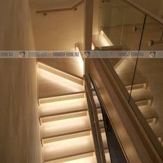 Деревянная лестница с подсветкой, лестница с светодиодной подсветкой