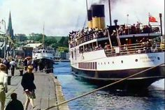 The Queen Mary II at Rothesay Pier in 1955 en-route for Tighnabruaich. Queen Mary Ii, Isle Of Bute, Family History Book, Arran, Glasgow, Scotland, Cruise Ships, Steamer, Pebble Art