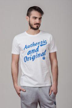 """Ανδρικό T shirt """"Authentic & Original"""" White"""