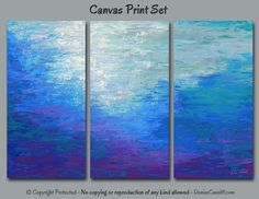 Colorful abstract painting - Canvas print set. Multi panel 3 piece wall art for home or office decor. Colors include teal gray blue plum purple, and gray. Artist - Denise Cunniff - ArtFromDenise.com. View more info at https://www.etsy.com/listing/295143219