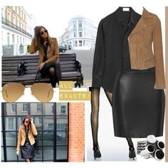 ELEANOR CALDER INSPIRED OUTFIT <3 by costina-raftu on Polyvore featuring Yves Saint Laurent, Maje, Boutique, Wolford, Bottega Veneta and Ray-Ban