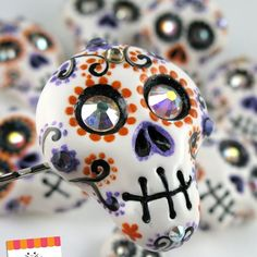 Day Of The Dead Skulls - Rings, Pendants, Hair Clips, Weddings, Party