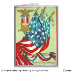 US Flag Gold Star Eagle Memorial Day Greeting Card