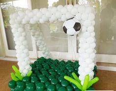 Soccer goalie net balloon decor