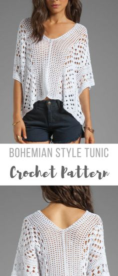 my daughter would love this! how pretty and modern, yet classy, yet nostalgic. LOVE IT! crochet boho style tunic sweater for young ladies and women #crochettunic #crochettunicpattern #crochetsweaterpattern #crochetpattern #affiliate