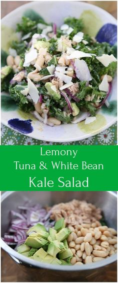 Personalized Graduation Gifts - Ideas To Pick Low Cost Graduation Offers Packed With Protein And Nutrients Your Body Will Thank You For, This Lemony Tuna And White Bean Kale Salad With Avocado Is One Of My Favorite Salads. Avocado Salad Recipes, Kale Recipes, Salad Dressing Recipes, Healthy Salad Recipes, Seafood Recipes, Kale Salad, Bean Salad, Soup And Salad, Avocado Toast